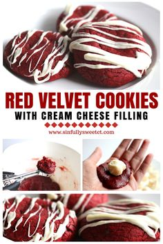 Red velvet cookies stuffed with a sweet cream cheese filling!