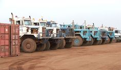 oil field trucks   View of oilfield trucks
