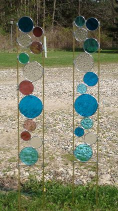 Stained glass garden art stake teal blue purple rose yard decoration. via Etsy.