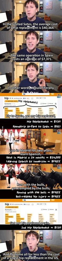 The cost of a hip replacement in the US.. I don't know the quality of the operation, but this puts our medical system in perspective a little