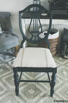 Chair Makeover Using Annie Sloan Chalk Paint And Farmhouse Wares Fabric