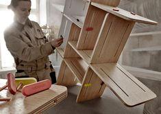 3xDYNKS regał modułowy ze sklejki polski design Mebloscenka Plywood Storage, Bookcase Storage, Bookshelves, Modular Shelving, Co Design, Shelf Design, Contemporary Style, The Unit, Creative