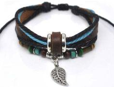 Fashion Hand Jewelry Bracelet Bangle Made Of Leather Ropes with Beads Leaf Pendant Cuff Bracelet Adjustable  b204 by moolibracelet