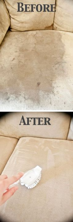 Cleaning a microfiber couch with just a sponge and rubbing alcohol, then soften with a scrub brush after it dries.