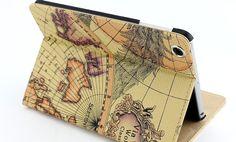 iPad mini Flip Case Cover, Nautical Navy Map iPad mini Case,Vintage World Map iPad mini Case,Shipping Free on Etsy, $17.99