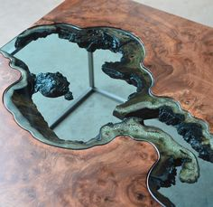 wood table with epoxy glass waterfall