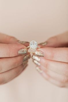 The perfect mani + engagement ring combos.