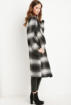 Plaid Draped-Front Coat | Forever 21 - 2000156398