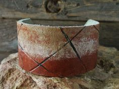 Hand Painted Leather Cuff Bracelet 8115 by KellyCoCreativeArts, $25.00