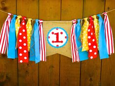CIRCUS Birthday Banner Highchair High Chair Garland Primary Color Red Aqua Yellow Carnival Picnic One First Party Cake Smash Photo Prop CIRCUS Birthday Banner Highchair High Chair Garland Primary Color Red Aqua Yellow Carnival Picnic O Carnival Themed Party, Carnival Birthday Parties, First Birthday Parties, Birthday Party Themes, Birthday Ideas, Theme Parties, Cake Birthday, Dumbo Birthday Party, Birthday Recipes
