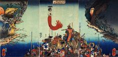 Kusunoki Sa-chujo Masatsura on rocky ledge with his men spying on Ashikaga's troops at foot of cliffs by bay.