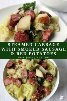 This cabbage recipe is seriously delicious. The sausage brings the recipe to a whole new level adding a fabulous smokey flavor. The starch from the potatoes adds great texture. This simple recipe will be a great way to start the new year, but I suggest making it all year. It's so good!