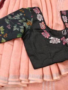 Best 12 Linen sarees with designer blouse what's app 9047090885 tanvika sarees Kalamkari Blouse Designs, Saree Blouse Neck Designs, Simple Blouse Designs, Stylish Blouse Design, Black Blouse Designs, Printed Blouse, Printed Linen, Work Blouse, Embroidered Blouse