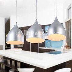 élégant bref 3 pendentif lumière moderne avec de l'argent ombre à la lumière - CAD $ 111.19