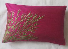 gorgeous dark fuchsia pink boudoir pillow cover with lime green embroidery detail