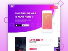 App Landing Page designed by Ridoy Rock. App Landing Page, Landing Page Design, Lets Do It, Let It Be, Mobile Banner, Gradient Color, Web Design, Inspiration, Inspired