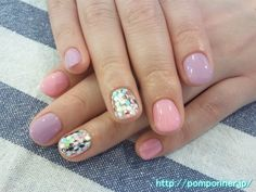 Pastel nail pink and purple great for spring / Easter