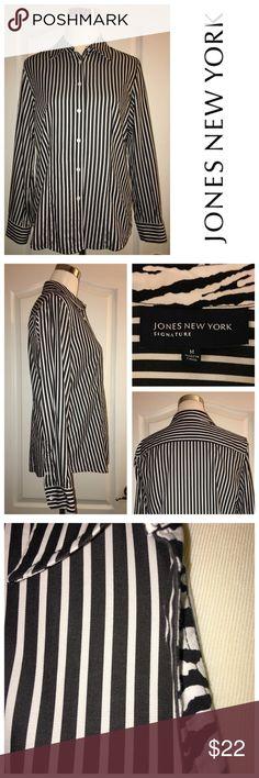 JONES NEW YORK Black & white button down shirt with contrast lining in front and at collar.  Great shirt that can be styled so many ways! Jones New York Tops Button Down Shirts
