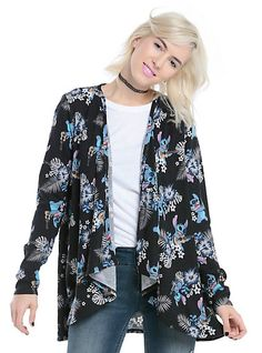 Disney Lilo & Stitch Tropical Girls Flyaway CardiganDisney Lilo & Stitch Tropical Girls Flyaway Cardigan, BLACK