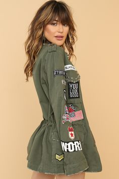 City Dreams Jacket - Olive Olives, Fashion Heels, Fashion Forward, Military Jacket, Bring It On, Hoodies, Clothes For Women, Chic, Dreams