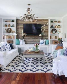 Easy Breezy Living in an Aqua Blue Cottage   Aqua, Living rooms and Room