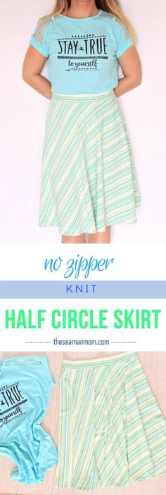 EASY KNIT HALF CIRCLE SKIRT SEWING TUTORIAL - Put together an amazing skirt that will fit you just perfectly with this easy half circle skirt tutorial! No zipper involved, ready in no time!