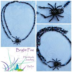 Creepy spider necklace. #halloween www.Facebook.com/BrightFireZP