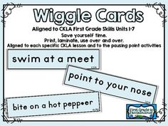 This pack includes 175+ CKLA Wiggle Cards for 1st Grade Skills Units 1-7. For ease of management, each card is conveniently labeled with the grade level, unit number, and lesson number. EX: 1.2.7: 1 for 1st grade, 2 for unit 2, and 7 for