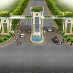 Township gate at Ajmer Gate Wall Design, Main Gate Design, House Gate Design, Gate House, House Front Design, Entrance Design, Facade House, Entrance Gates, Grand Entrance