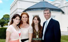 Prince Andrew pictured with Sarah Ferguson and their daughters outside Royal Lodge. In 2004, the Duke moved to the refurbished Royal Lodge Photo (C) Getty, Splash, Rex, PA