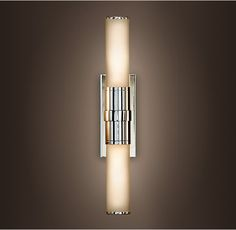 """Cade Double Sconce from Restoration Hardware.  Available in Satin Nickel, Polished Chrome, Oil-Rubbed Bronze, and Polished Nickel. 3""""W x 4½""""D x 16¼""""H.  5"""" x 1 5/8"""" x 9"""" backplate."""