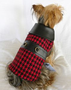 dog cat clothing apparel coat red black houndstooth  new  xs s m