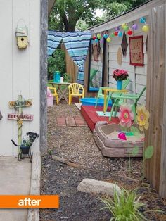 Name: Katie (mom) & Olivia (daughter)Location: Oklahoma City, OK We had a narrow skinny wasted space between our garage and our neighbors. Before Olivia was born we used it to put grass clippings and junk there, but I wanted to transform it into a play space when she was old enough.
