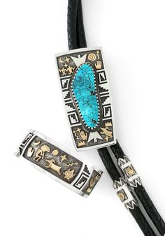 Native American Jewelry | Bolo and Bracelet by Alrand Ben, Navajo | Sterling Silver, Gold Turquoise |  wrightsgallery.com