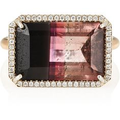 Irene Neuwirth Women's White Diamond & Bicolor Tourmaline Ring (€9.695) ❤ liked on Polyvore featuring jewelry, rings, gold, hand crafted jewelry, handcrafted jewellery, tourmaline ring, band rings and band jewelry