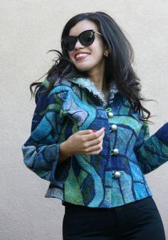 Nuno felted eco fashion fun blue mosaic Tiffany jacket woman
