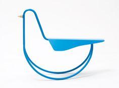 Project at L'ENSCI / 2011 A blue metal bird with wood beak.