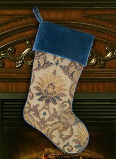 Stocking – Chenille and Teal Velvet Christmas Stocking