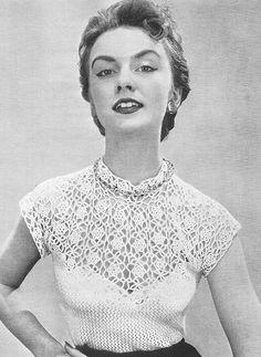 1955 Rose Yoke Blouse Vintage Crochet Pattern PDF 113 par annalaia, $3.75