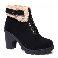 Retro Suede and Buckle Design Chunky Heel Women's Ankle Boots