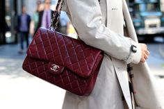 Classic quilted Chanel flap bag in oxblood