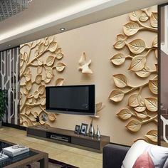 Wholesale papel de parede leaf trees pigeon wall mural TV background for bedroom room wall photo mural vinyl wall sticker Tv Unit Design, Tv Wall Design, Design Art, 3d Foto, Modern Tv Wall Units, Art Deco Wallpaper, Photo Wallpaper, 3d Wallpaper For Walls, Custom Wallpaper