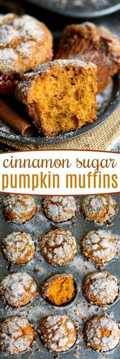 Say hello to fall with these delicious Cinnamon Sugar Pumpkin Muffins! Exception… Say hello to fall with these delicious Cinnamon Sugar Pumpkin Muffins! Exceptionally moist, surprisingly light, and entirely irresistible! // Mom On Timeout Köstliche Desserts, Delicious Desserts, Dessert Recipes, Yummy Food, Recipes Dinner, Cupcake Recipes, Sugar Pumpkin, Pumpkin Dessert, Pumpkin Breakfast