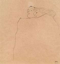 Egon Schiele (Austrian, 1890-1918), Schlafendes Paar [Sleeping Couple], 1909. Pencil on paper, 32 x 30 cm.