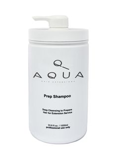 Aqua Hair Extensions Prep Shampoo deep cleanses the hair, removing all build-up from styling products, oils, hard water minerals and stubborn chlorine, leaving the hair ready for hair extensions service.