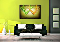 """Double Martini (Limeonade Motif)"" by wine artist © Leanne Laine Fine Art #wineart #winepainting"