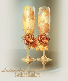 #personalized #rustic #fall #holiday #wedding #champagne #flutes #glass