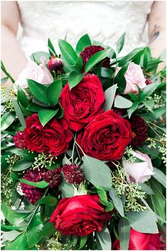 red and spring green bouquet