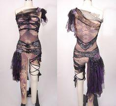 Made to order aerial costume / custom dance costume / unitard leotard / cirque du soleil dark skeleton creature