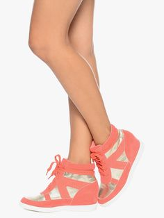 Coral Neon Colors Woman's Fashion Tennis Shoes